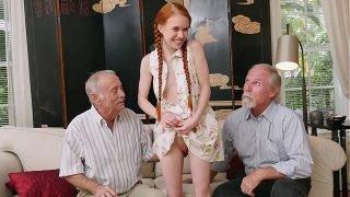 BLUE PILL MEN – Old Men Meet Petite Redhead Teen Dolly Little IRL After Chatting Online
