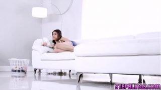Stepsiblings making a hot romance inside the bedroom